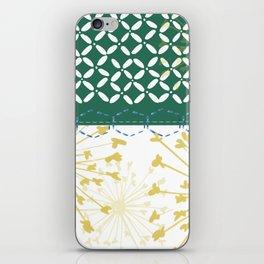 Boho dandelion green and yellow iPhone Skin