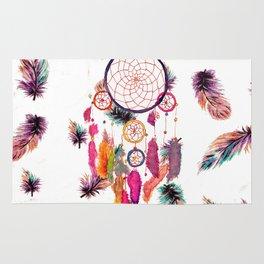 Hipster Watercolor Dreamcatcher Feathers Pattern Rug