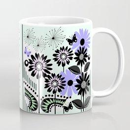Trendy flowers & butterflies in purple, pink, green and B&W Coffee Mug