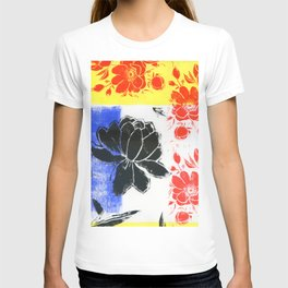 floral abstract in Mondrian colors: linoprint T-shirt