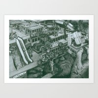 volkswagon Art Prints featuring Hippie Bus Apartments by Richie Montgomery