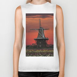 The deZwaan Dutch Windmill at Sunset Biker Tank