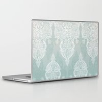 moroccan Laptop & iPad Skins featuring Lace & Shadows - soft sage grey & white Moroccan doodle by micklyn