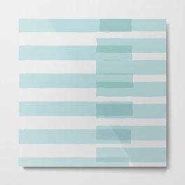 Big Stripes In Turquoise Metal Print