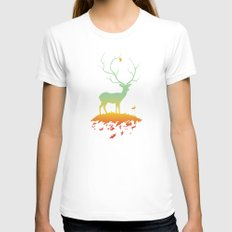 Fawn and Flora Womens Fitted Tee X-LARGE White