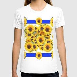 CLASSIC WHITE & BLUE SUNFLOWERS ART T-shirt