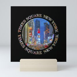 Times Square Broadway New York Badge Emblem (on black) Mini Art Print