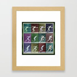 Time Lapse Motion Study Man Running Monochrome Framed Art Print