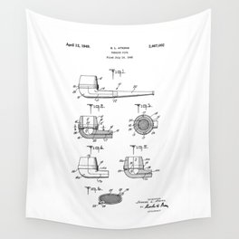 patent art Atkins Tobacco Pipe 1949 Wall Tapestry