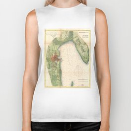 Vintage Map of Plattsburgh New York (1872) Biker Tank