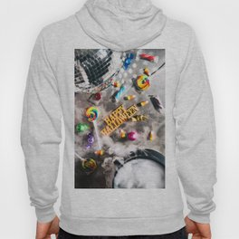 Halloween: Fog Drifts Around Candy And Disco Ball On Holiday Background Hoody