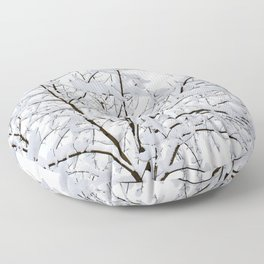 Trees in the snow Floor Pillow