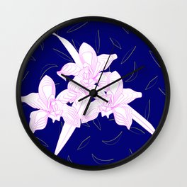 Pink and White Orchids, Navy Background Illustration Wall Clock