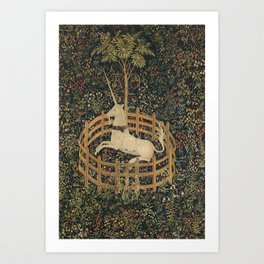 The Unicorn in Captivity (from the Unicorn Tapestries) Art Print