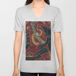 Flowery Arabic Rug III // 17th Century Colorful Plum Red Light Teal Sapphire Navy Blue Ornate Patter Unisex V-Neck