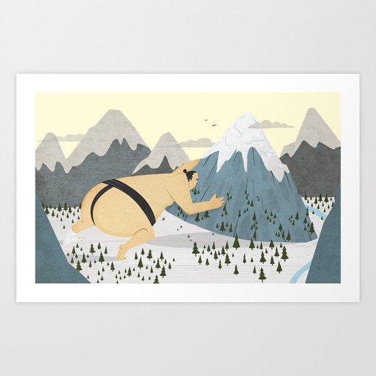 Oyama Fights The Mountain Art Print