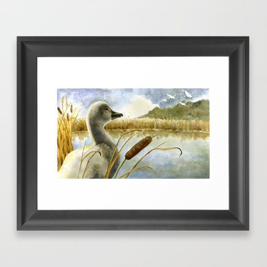 The Ugly Duckling Sees Swans in the Sky Framed Art Print