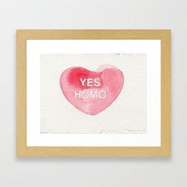 YES HOMO CONVERSATION HEART CANDY Framed Art Print