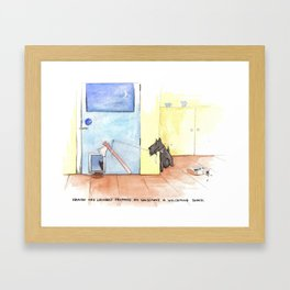 Evil Scottish Terrier and cat cartoon. Framed Art Print