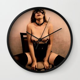 Erotic photography in dark vintage, sepia style - dirty masked posing Wall Clock