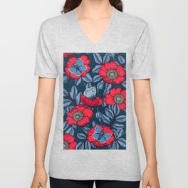 Dog rose and butterflies in red and blu Unisex V-Neck