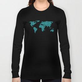 World Map Teal Glittery Sparkles Long Sleeve T-shirt