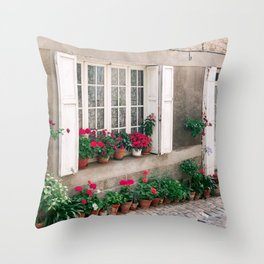 Picturesque street with flowers in France Throw Pillow