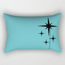 Atomic Age Retro 1950s Starburst in Black and 50s Turquoise Rectangular Pillow