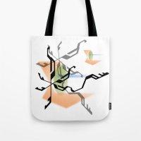 random Tote Bags featuring Random by Robin Curtiss