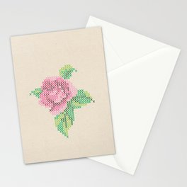 Rose cross stitch Stationery Cards
