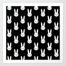 Bunny Rabbit black and white spring cute character illustration nursery kids minimal floral crown Art Print