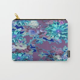 Aqua & Puce Color Tropical Flower Garden Pattern Carry-All Pouch
