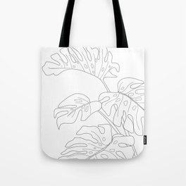Line Art Monstera Leaves Tote Bag