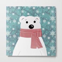 Christmas polar bear on blue. Metal Print