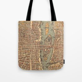 Vintage Map of Paris (1575) Tote Bag