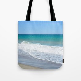 Sandy beach and Mediterranean sea Tote Bag