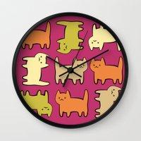 cartoon Wall Clocks featuring Cartoon Kitties by Irina  Romanovsky