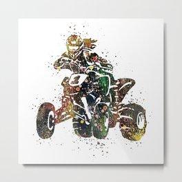 4 Wheeler Girl Art Offroad Racing Art ATV Life Colorful Watercolor Art Gift Metal Print
