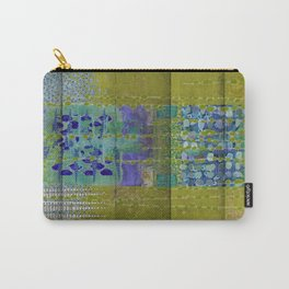 Olive & Blue Abstract Art Collage Carry-All Pouch