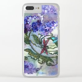 Purple Circle of Lilacs by SK Clear iPhone Case