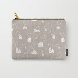 Cozy Winter Homes Pattern - Warm Gray Carry-All Pouch