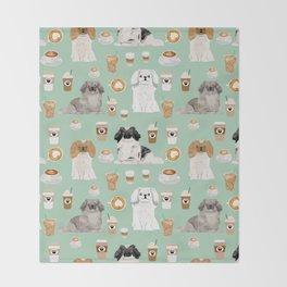 Pekingese dog breed dog pattern pet portraits coffee food dog breeds pet friendly Throw Blanket