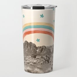 Canyon Desert Rainbow // Sierra Nevada Cactus Mountain Range Whimsical Painted Happy Stars Travel Mug