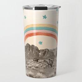 Canyon Desert Rainbow // Sierra Nevada Cactus Mountain Range Whimsical Painted Happy Stars Travel Mug