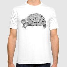 Black and White Tortoise Mens Fitted Tee White MEDIUM