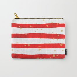 Modern hand painted red yellow watercolor stripes splatters Carry-All Pouch