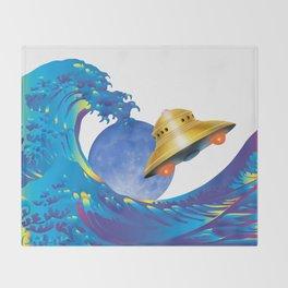 Hokusai Rainbow, UFO & the Moon  Throw Blanket