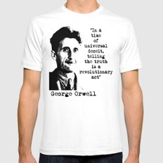 George Orwell White Mens Fitted Tee SMALL