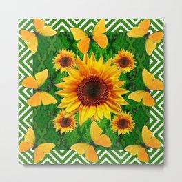 Green Yellow Butterflies Sunflowers Flowers  Art Metal Print
