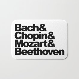 Bach and Chopin and Mozart and Beethoven, sticker, circle, white Bath Mat